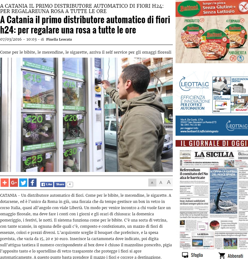 Automatique on La Sicilia news  -  Catania talking about one of our clients in the city .