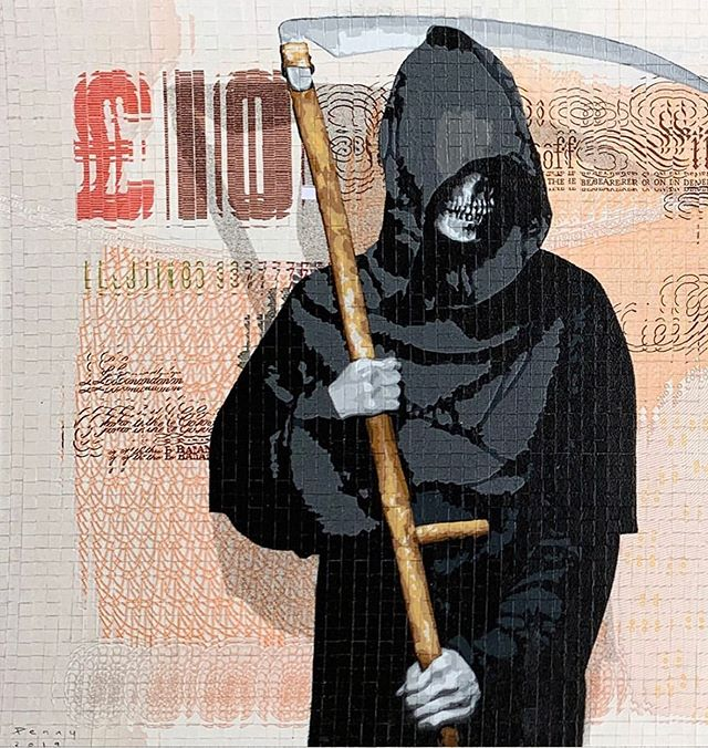 "#Repost @spoke_art ・・・ ""Grim Inflation"" by Penny (@onepennypiece)⁠⠀ ⁠⠀ - 17 layer hand cut stencil and spray paint on ten Pound notes cut into 6,048 squares and reassembled⁠⠀ ⁠⠀ - 6"" x 11""⁠⠀ ⁠⠀ - Hand Painted Multiple / edition of 10⁠⠀ ⁠⠀ On view this weekend at the Drouot Auction House in Paris as part of a special solo exhibition presented by @HashimotoContemporary. ⁠⠀ ⁠⠀ Tap the link in our bio to view the entire exhibition online!⁠⠀ ⁠⠀ ----------------------------------- ⁠⠀ #onepennypiece #hashimotocontemporary #spokeart #district13 #district13artfair #stencil #stencilart #currency #currencyart #drouot #drouotauctionhouse #parisstreetart #streetart #urbanart #parisurbanart"