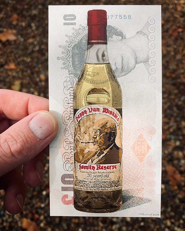 Mash Bills - 22 layer hand cut stencil on a ten Pound note and 24k gold Dollar bill. 🥃