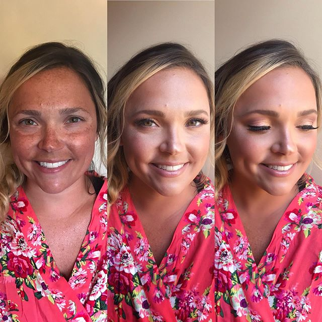 Before/After bridesmaid makeup. I'm LOVING @temptu airbrush this season. Amazing coverage, long lasting, doesn't feel heavy on skin, along with a quick and easy application! ***After photo was taken in different room with better lighting-it's all about the lighting 🙌⭐️