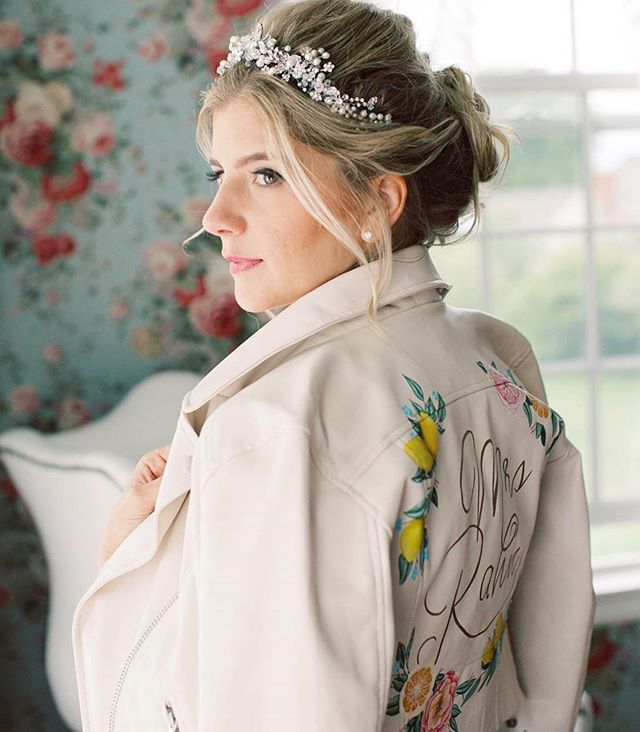 "Helllo Bride! Loving this custom leather jacket @dazzlemcfrazzle 👰🏼 wore for her pre-wedding boudoir sesh! l love when brides incorporate that into the day, extra little surprise for the-soon to be person for life! 💕  This was my first time at this venue, it was ""so Maine"" and so adorable! I'd love to go back!  hair/makeup💄 @sparklekatie 📸@katherinebrackmanphotography"