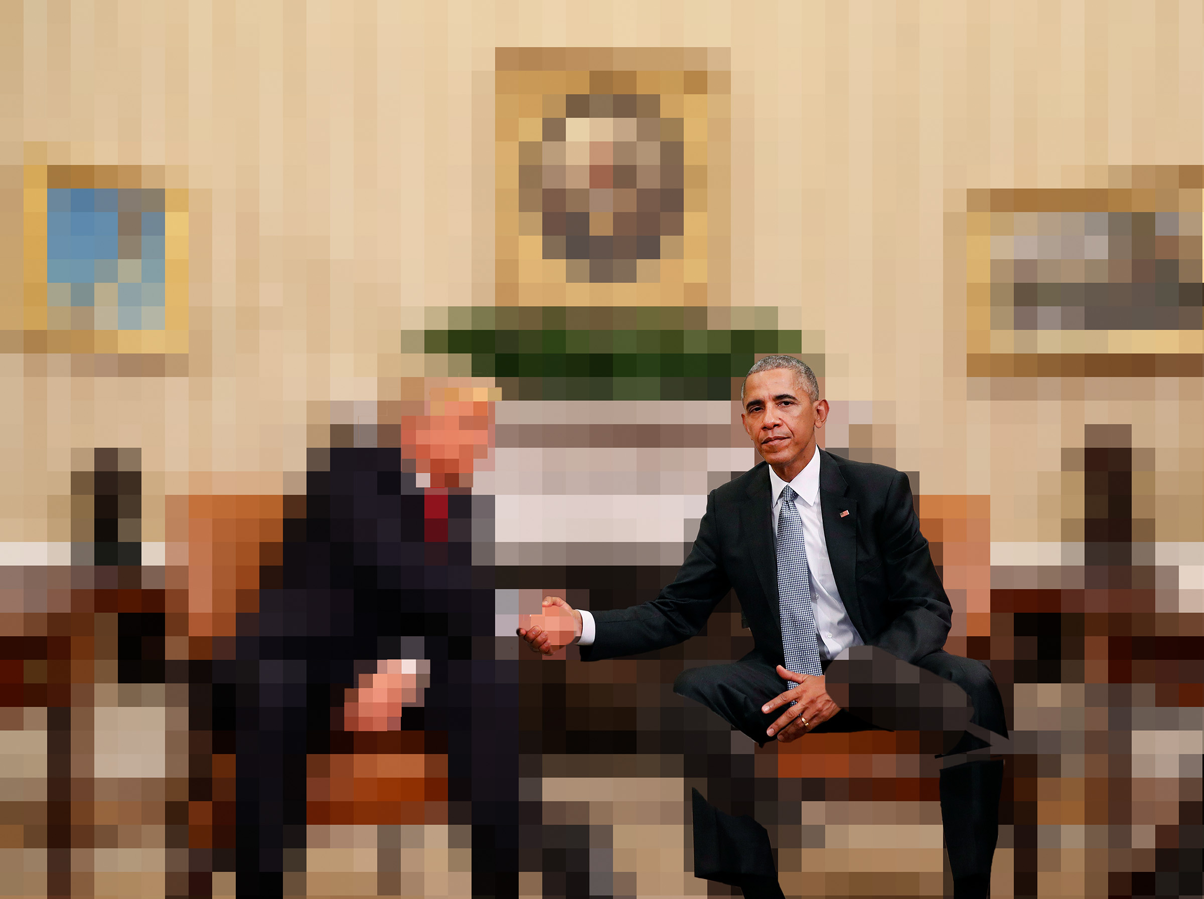 The Handshake.  Manual pixelization of a press corps image, 2017.