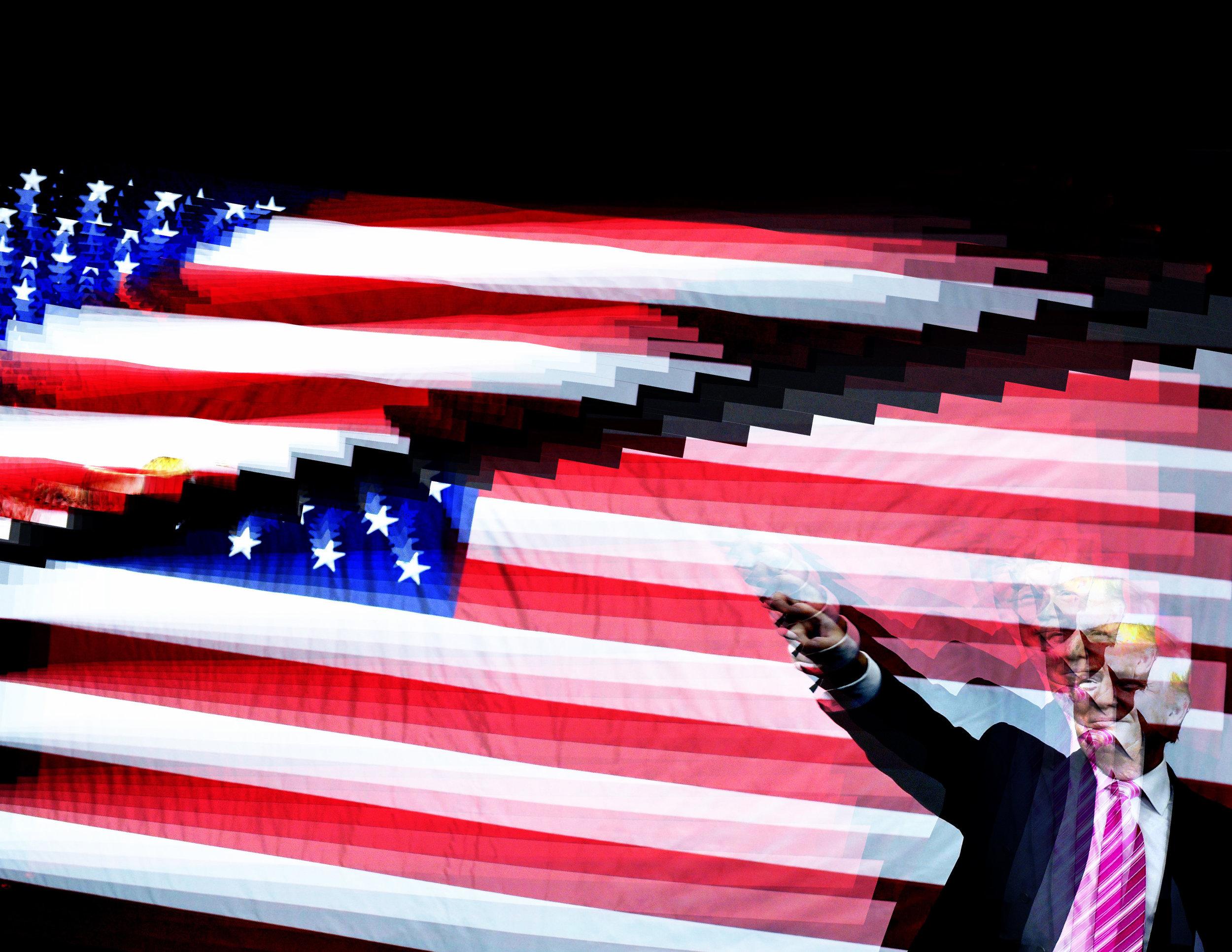 Sundered Flag, 2017. Destructive editing of a digital file via glitch technique.Original photograph by Mandel Ngan, Getty Images