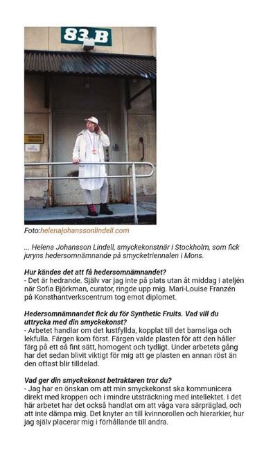 Screenshot from Konsthantverkscentrum's recent newsletter