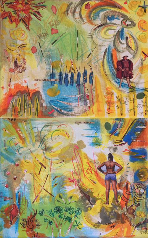"""Take Take Take, Follow 10"""" x 16"""", 2 canvas panels, 2013"""
