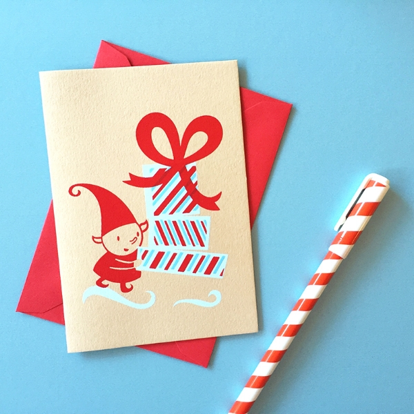 My  Mini Elf with Presents Holiday Card  is available now in my shop!