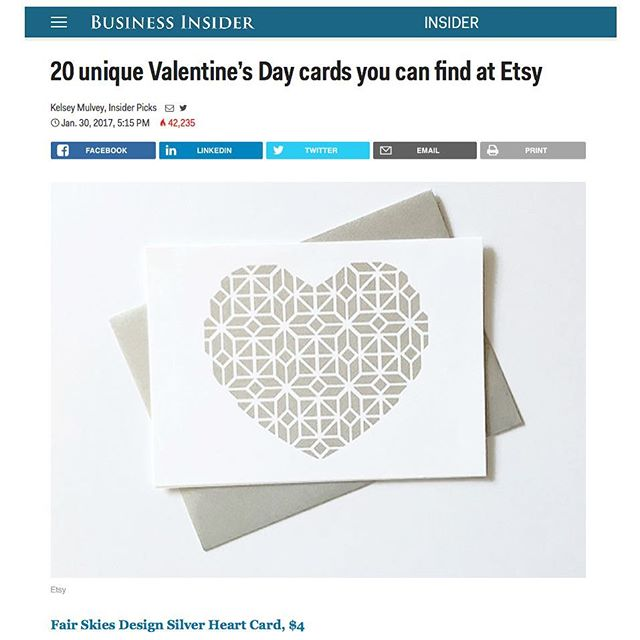 Thanks for the mention, Business Insider! Shop my collection of Valentine's Day cards now on Etsy 💌 (shop link in profile)