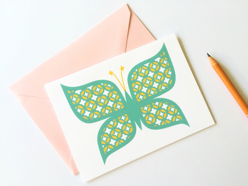 New 2017 greeting cards: butterfly card -