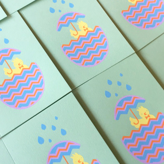 blue baby shower chick cards -