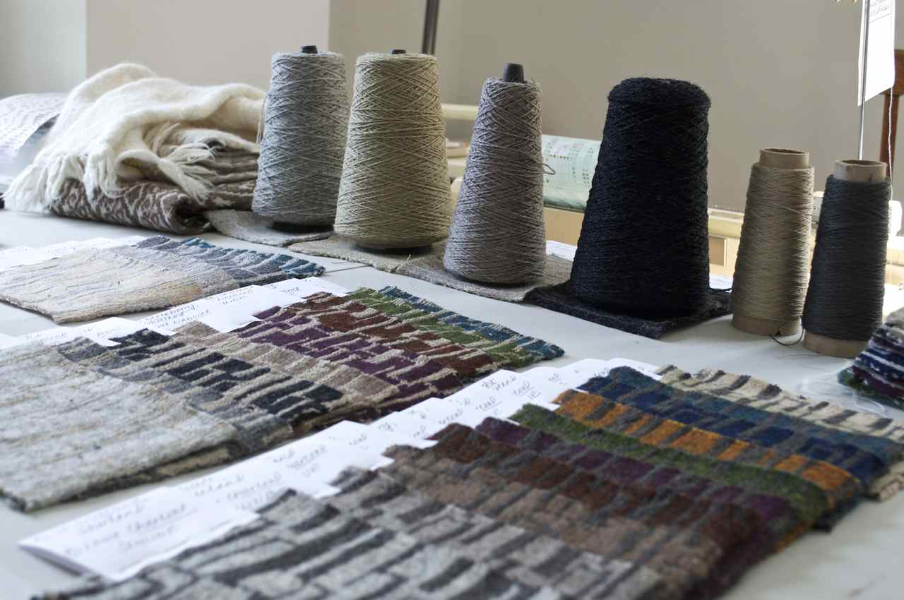 """Working on new designs inspired by our time in Peru. This one is called """"Skyline,"""" and is loomed here in wool and linen. CAN'T WAIT to put these on tote bags!"""