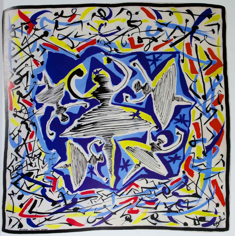"""Ballerina,"" a screen-printed silk scarf designed by Salvador Dali in 1947."