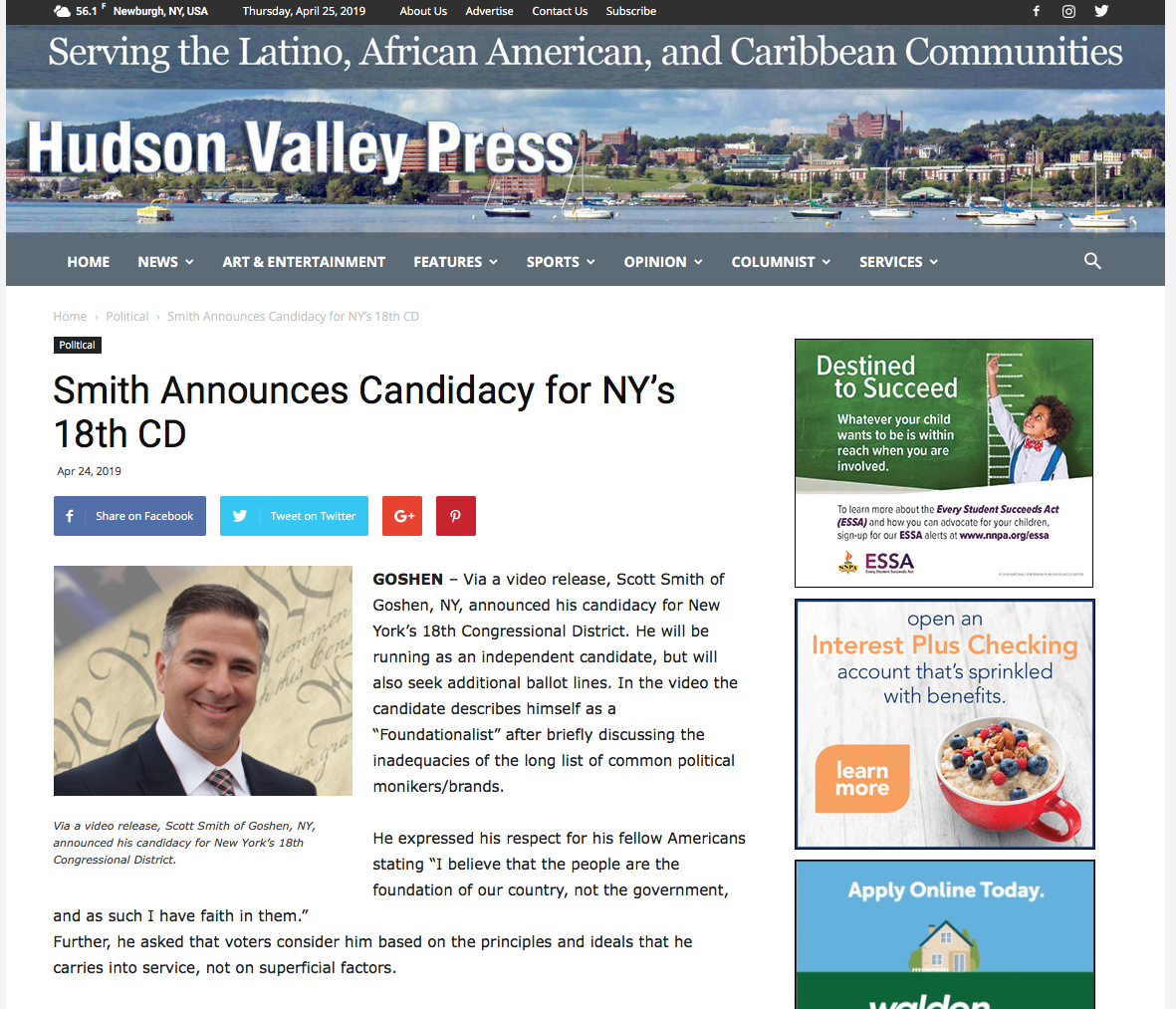 Hudson Valley Press reports on Candidacy — Scott Smith for