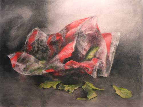 charcoal and pastel still life drawing of bagged lettuce
