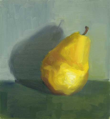 Yellow Pear IV - small oil painting 9x8""