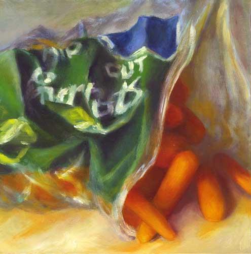cut baby carrots oil painting still life