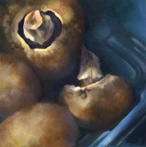 """Baby Bella mushrooms still life oil painting 8x8"""""""