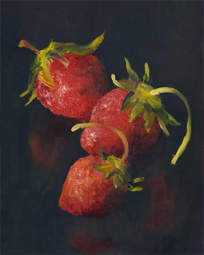"Strawberry Crescent : oil on paper : 12x9""    SOLD"
