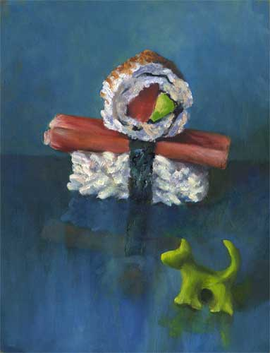 """Sushi Boy and Wasabi Dog : oil on paper : 12x9.5"""" 