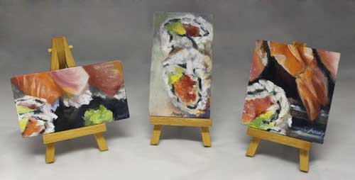 sushi box mini paintings
