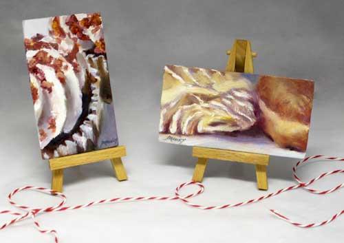 Cupcake Swoosh : mini oil painting