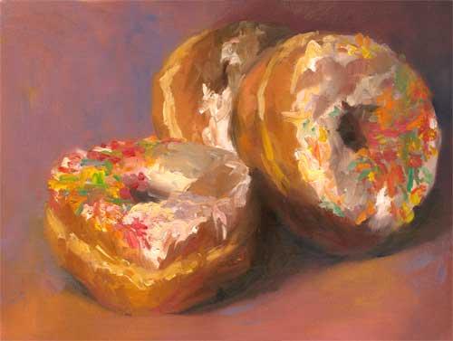 "Rainbow Sprinkles : oil on paper : 9x12"""