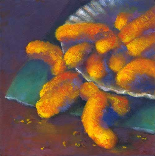 A Cheezy Moment - small still life oil painting