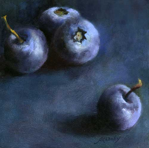 Blueberry Quartet : oil painting | 5x5"