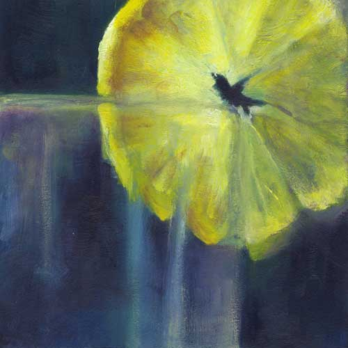 lemon slice oil painting | 8x8"
