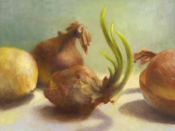 yellow onions : oil painting  |  9x12""