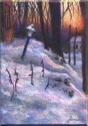 Winter's Fleeting Blush : color pencil miniature landscape drawing