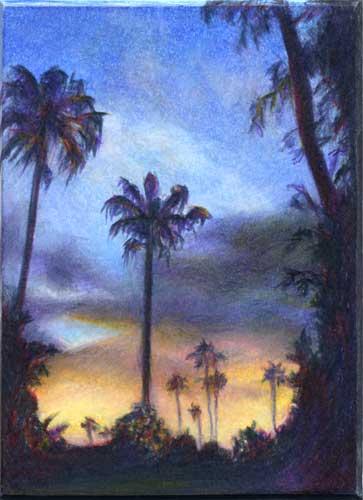 Sun Kissed Palms : miniature color pencil landscape