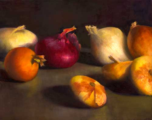 Red Onion, Center Stage - still life oil painting