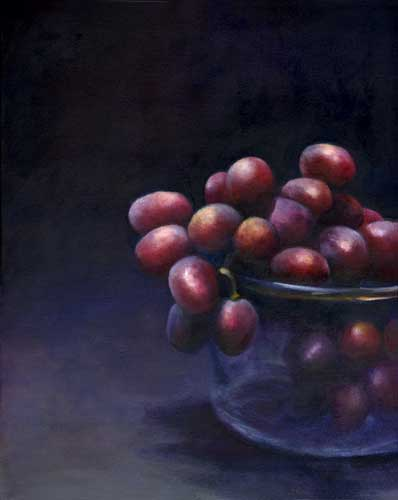 """A Dusty Cluster - still life oil painting of juicy grapes 