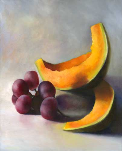 Grapes and Cantaloupe, Sliced : oil painting
