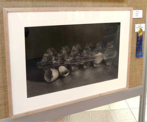 Jo Bradney : Eggbox, charcoal still life drawing - Best Drawing
