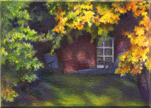 "Adirondack Vignette - color pencil - 2.5""x3.5"""