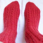 chunky cable hand knit socks