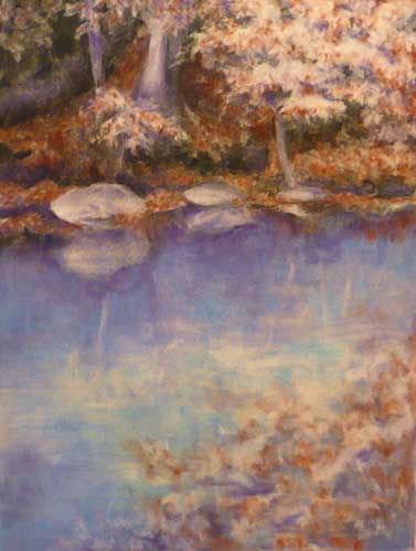 pastel drawng of fall woodland reflected in a turquoise stream