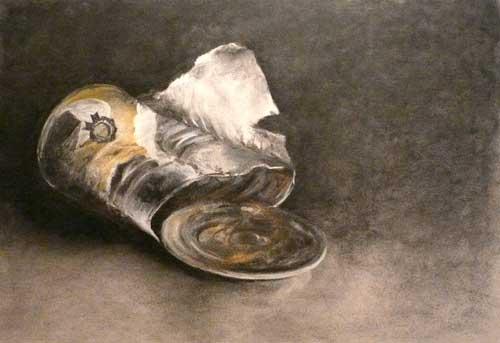 empty pumpkin pie can - charcoal still life drawing by Jo Bradney