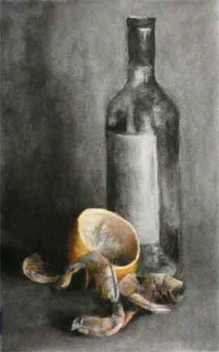 Prawn shells, squeezed lemon and a bottle of white wine