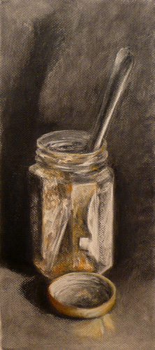 charcoal and pastel still life drawing of an empty jam jar and knife