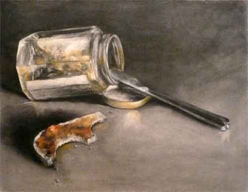empty marmalade jar and toast crust, charcoal and pastel still life drawing