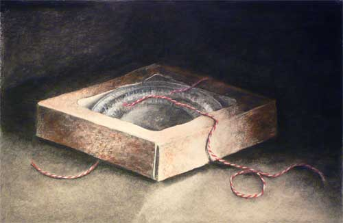 Charcoal drawing - empty pie box