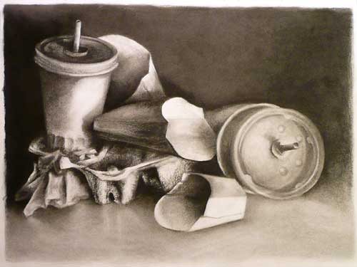 charcoal drawing of fast food trash