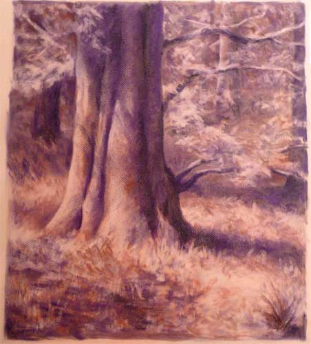 magical realism purple woodland trees
