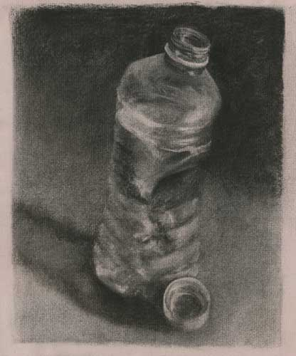 waterbottle charcoal still life drawing