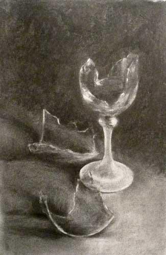 broken wine glass charcoal drawing