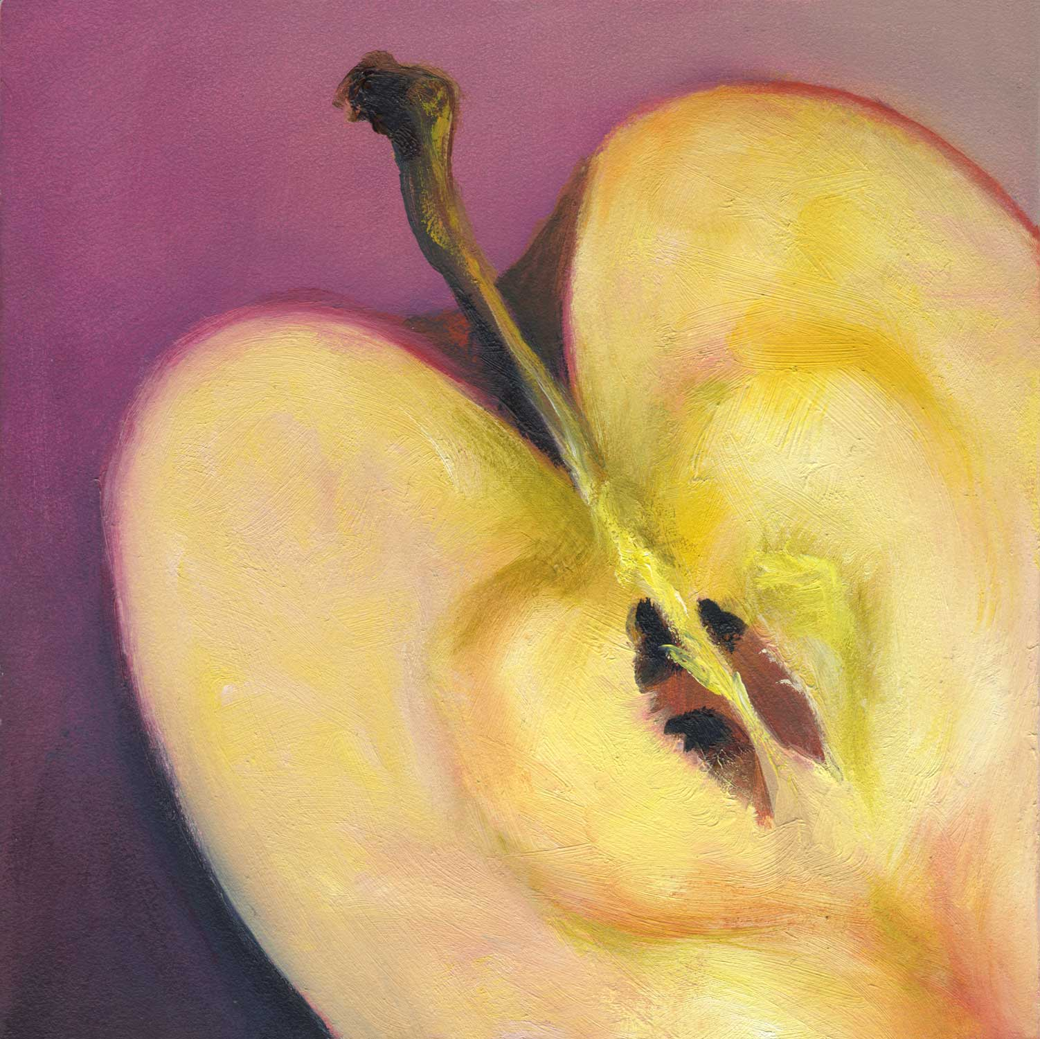 Apple Heart | oil | 5x5""