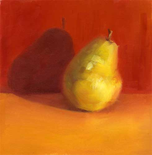 Yellow Pear : Red on Orange