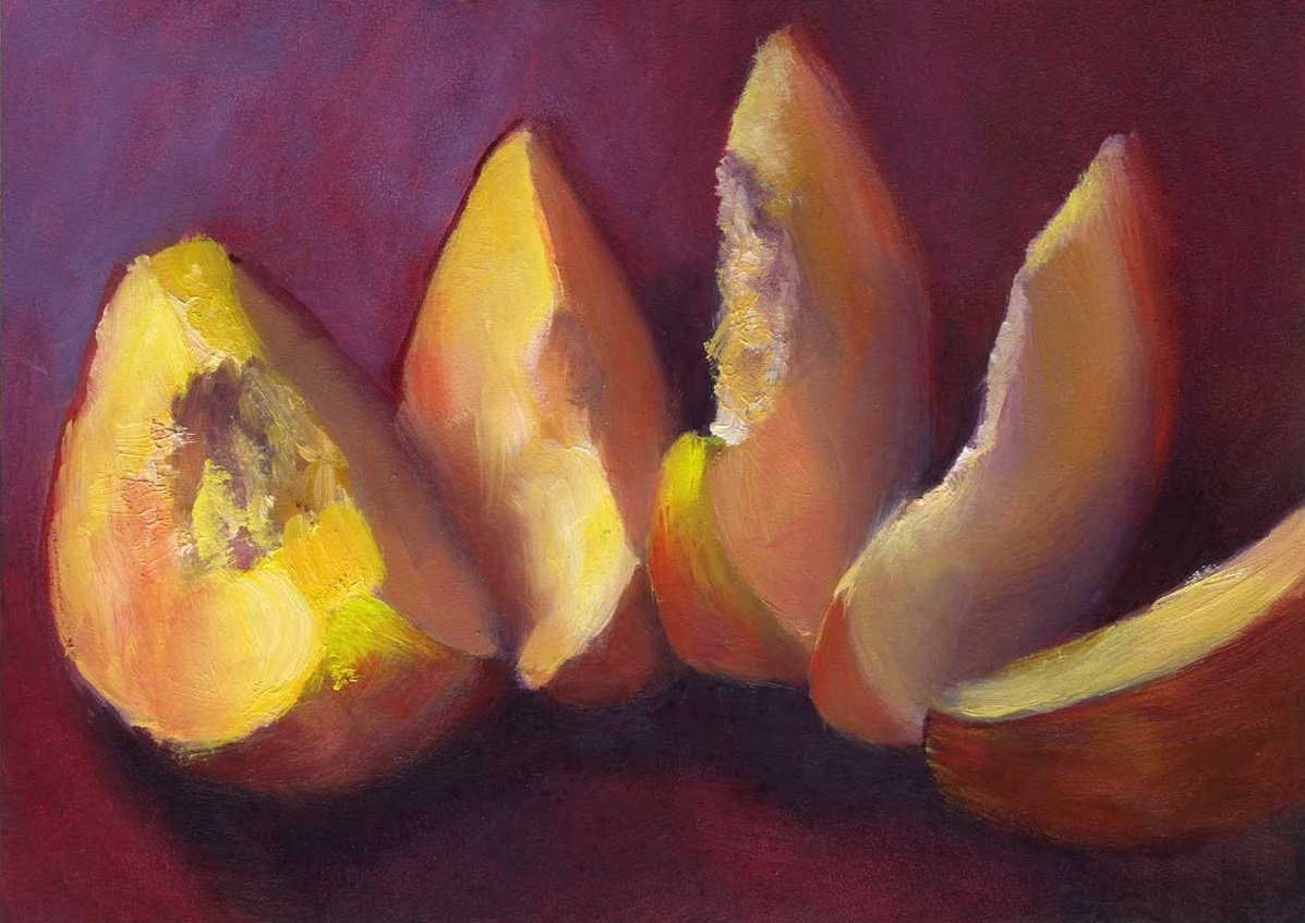 White Peach in Burgundy | oil painting | 5x7""